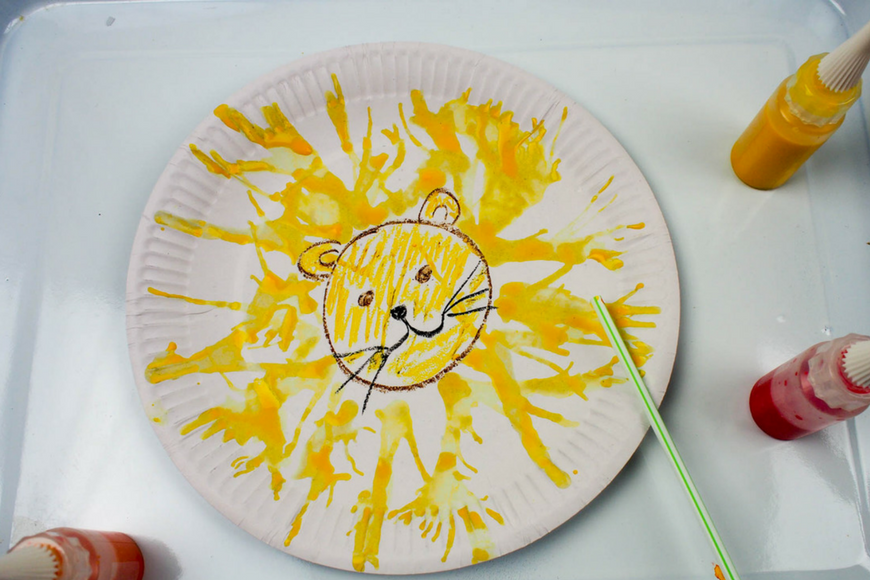 Make your own Blow Art Paper Plate Lion & Make your own Blow Art Paper Plate Lion - Mum In The Madhouse