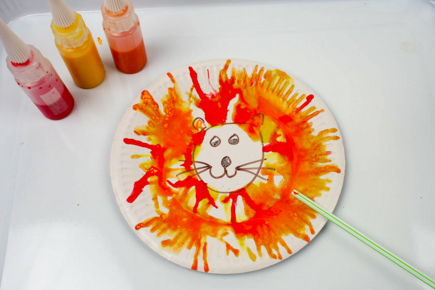 Make your own Blow Art Paper Plate Lion
