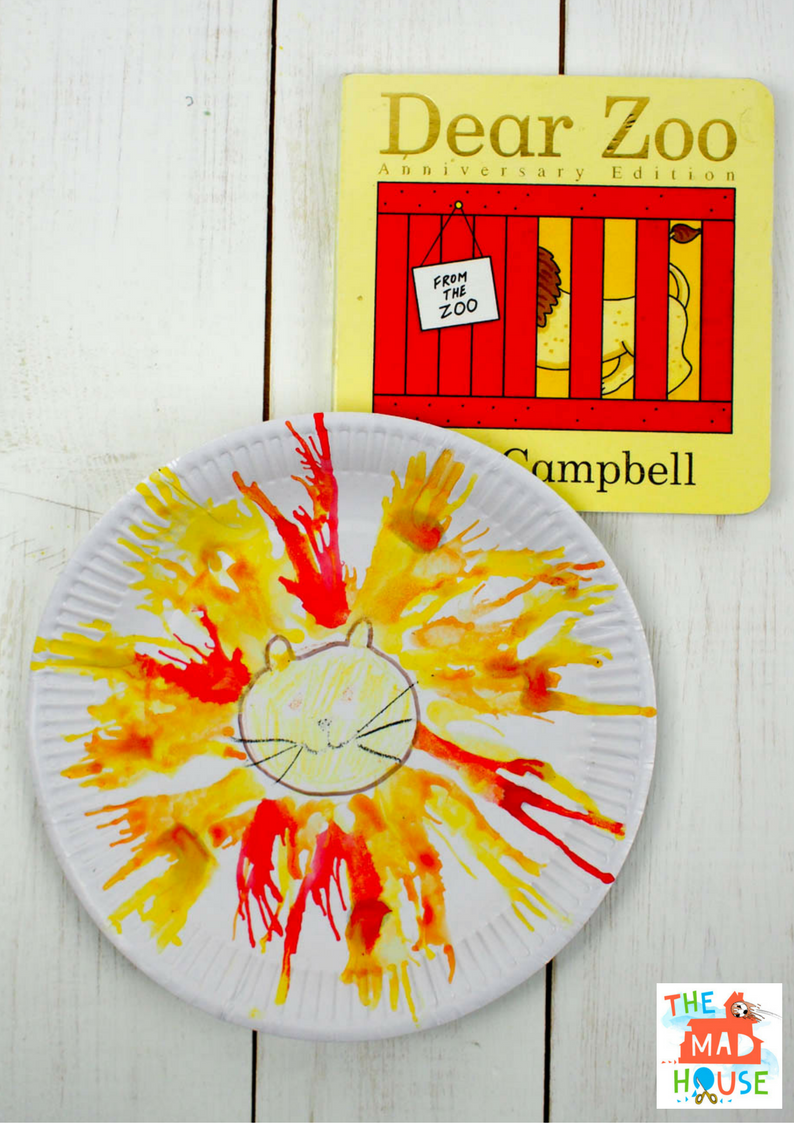 Make your own Blow Art Paper Plate Lion - a kids craft and process art activity inspired by the book Dear Zoo