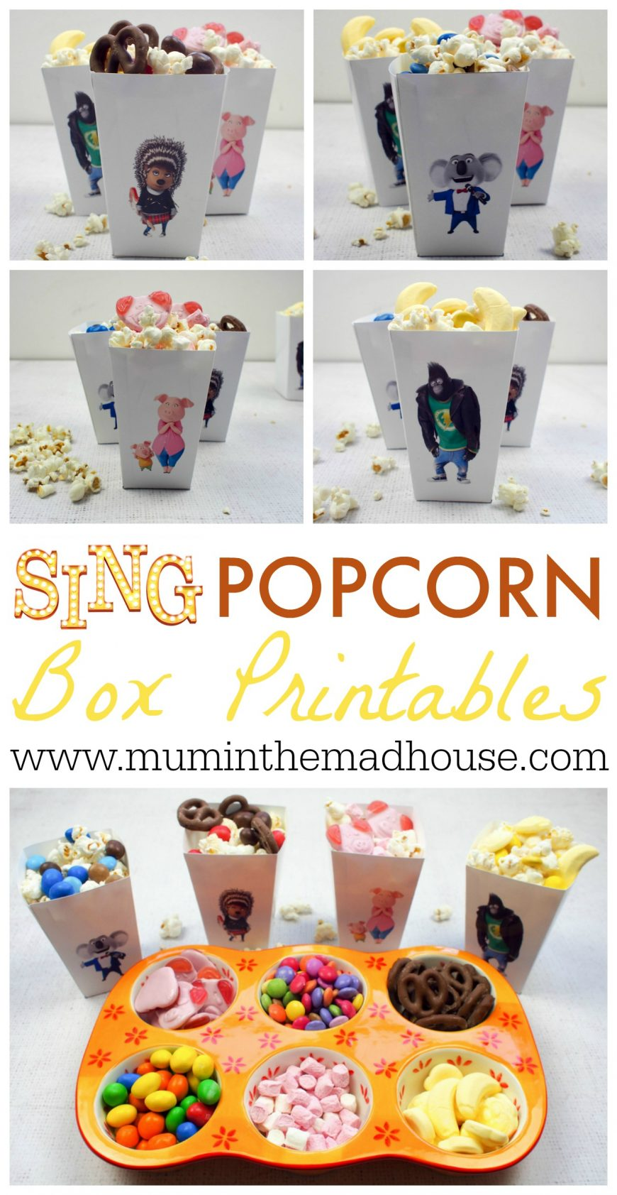 Have a SING Family Movie Night with our Free Printable SING Popcorn Boxes