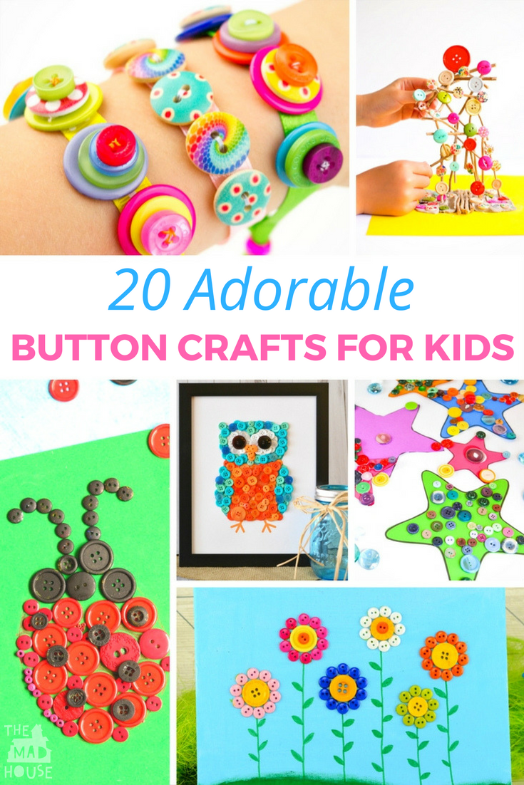 Buttons are magical and make a great craft material and these 20 + adorable button crafts for kids are a great way of recycling them.