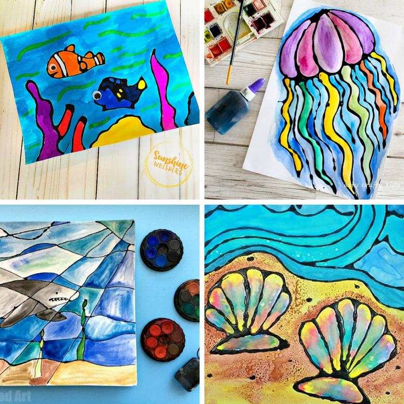 Ocean Watercolour Glue Resist Art Ideas 1