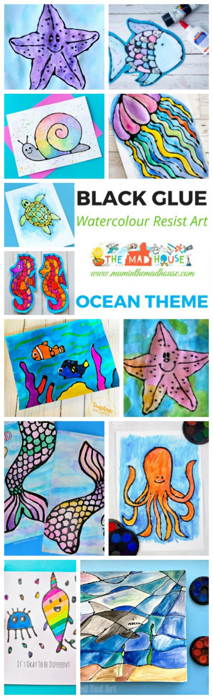 The complete under the sea watercolour glue resist Roundup. Yes, Ocean Watercolour Glue Resist Art Ideas many with free printables to make it e