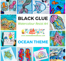 Ocean Watercolour Glue Resist Art Ideas