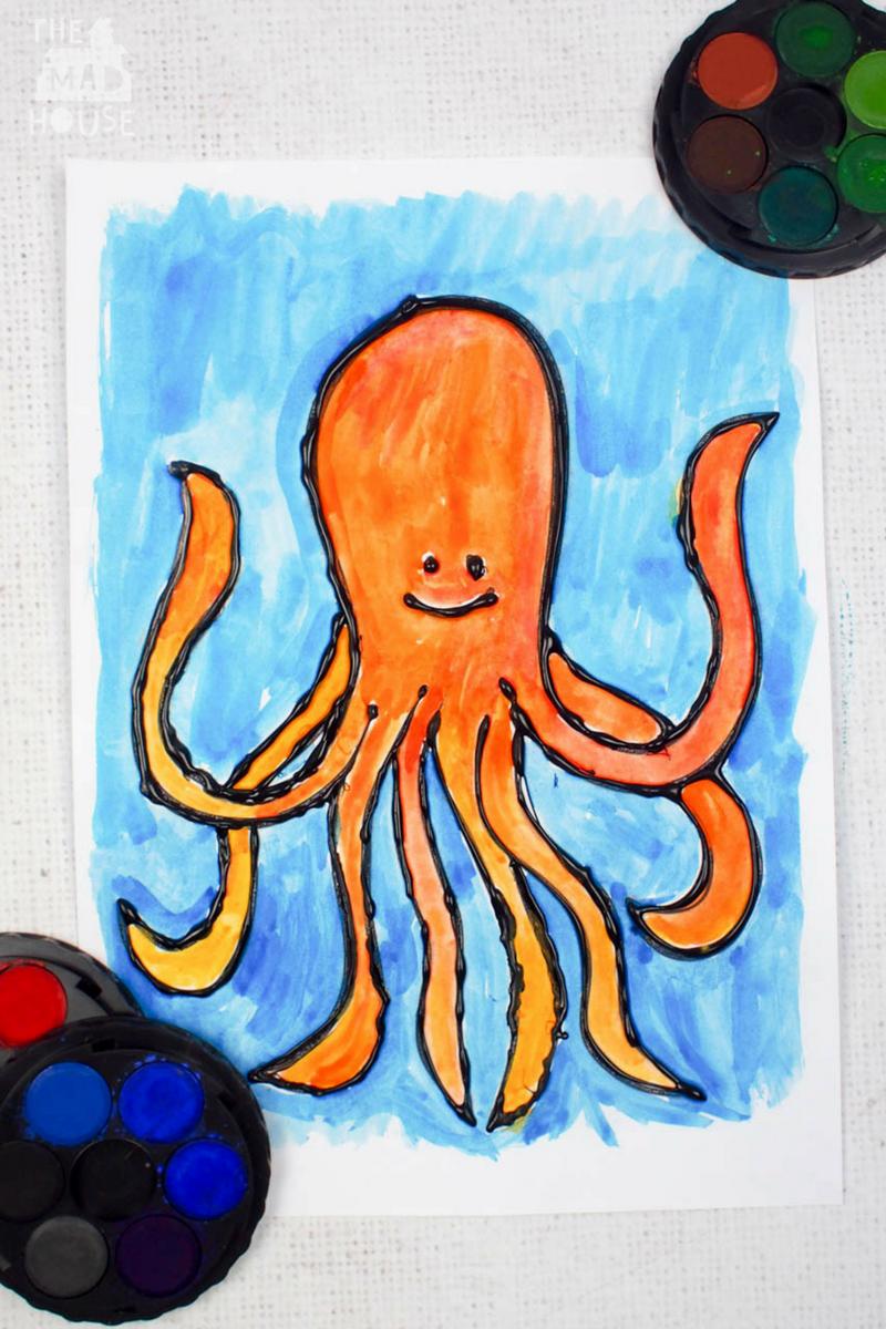 Octopus watercolour glue resist art
