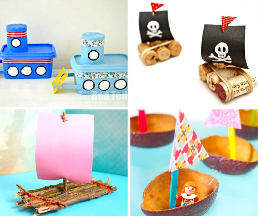What child doesn't love designing, decorating and trying to float a boat a that they've made from scratch?  It's just one of those classic summer activities that every kid has to try!  I've rounded up a collection of 18 boat crafts for kids to make this summer!  They're easy and inexpensive, using materials you have around the home!  Your kids will love building these boats, and then the best part – seeing if they can set them afloat in a sink, pool or pond