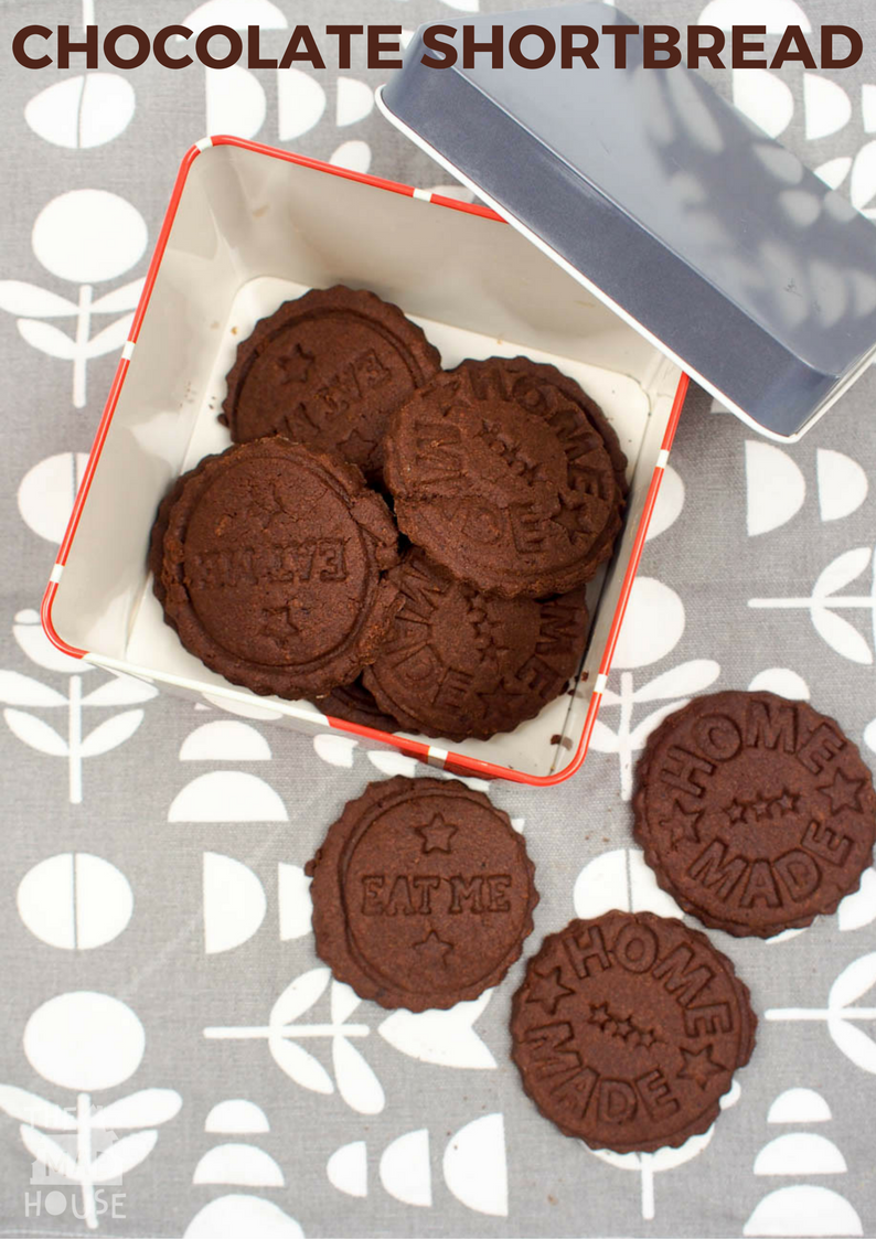This rich 4 ingredient chocolate shortbread recipe is easy to prepare and keeps for several days in an airtight container. Perfect for cooking with kids.