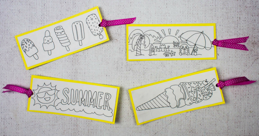 Free Summer Colouring Bookmarks