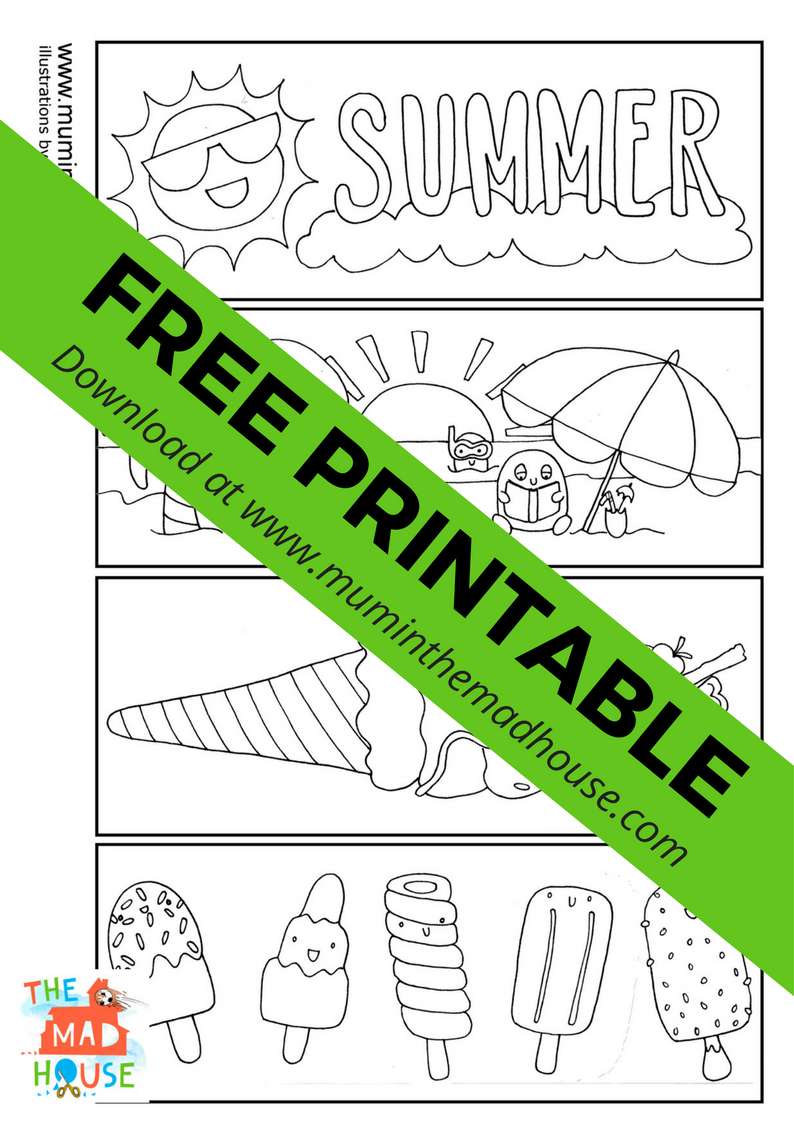 Free Summer Colouring Bookmarks - Mum In The Madhouse
