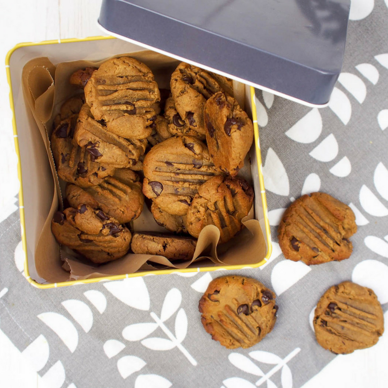 A simple recipe for No Added Sugar Peanut Butter and Chocolate Cookies. These cookies are delicious and easy to make, perfect for cooking with kids.