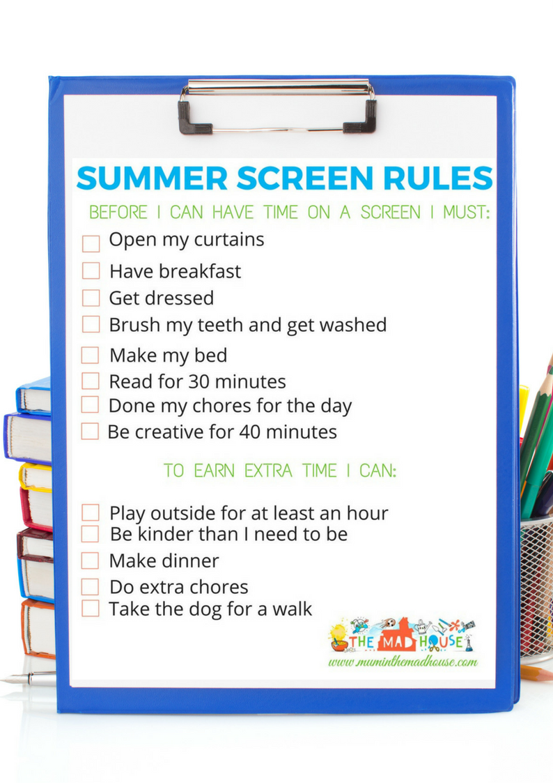 graphic relating to Screen Time Rules Printable referred to as Summertime Display Pointers - Absolutely free Printable - Mum In just The Madhouse