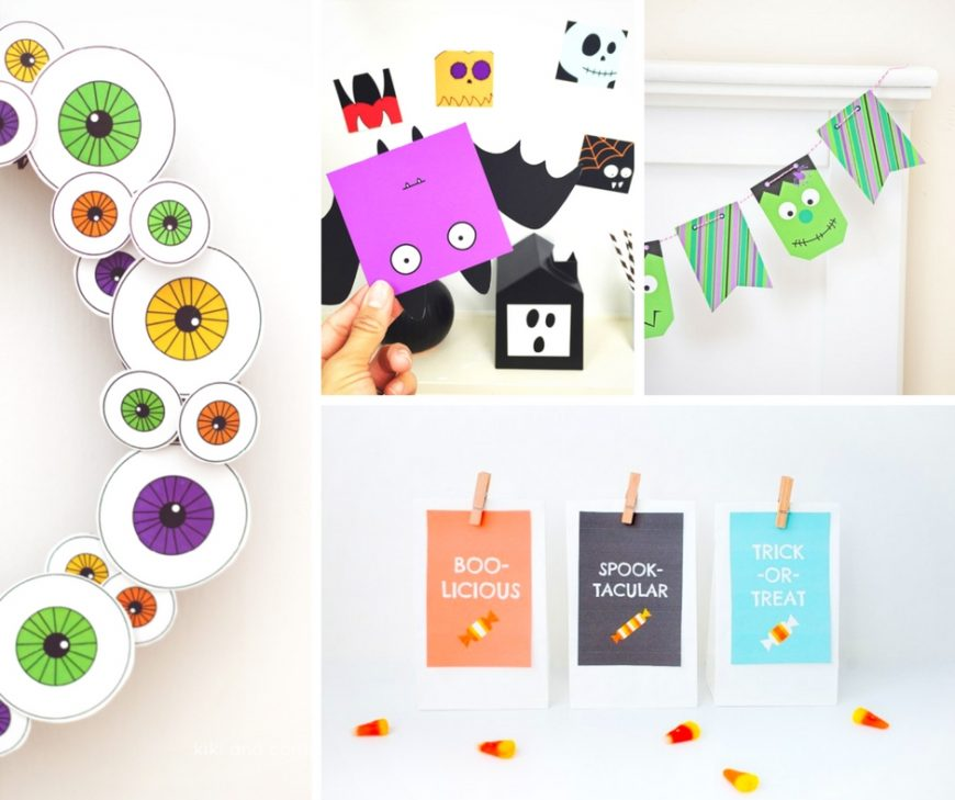 A selection of free Halloween printables including colouring pages, carving patterns, masks, favour boxes, games, decorations and other spooky crafts