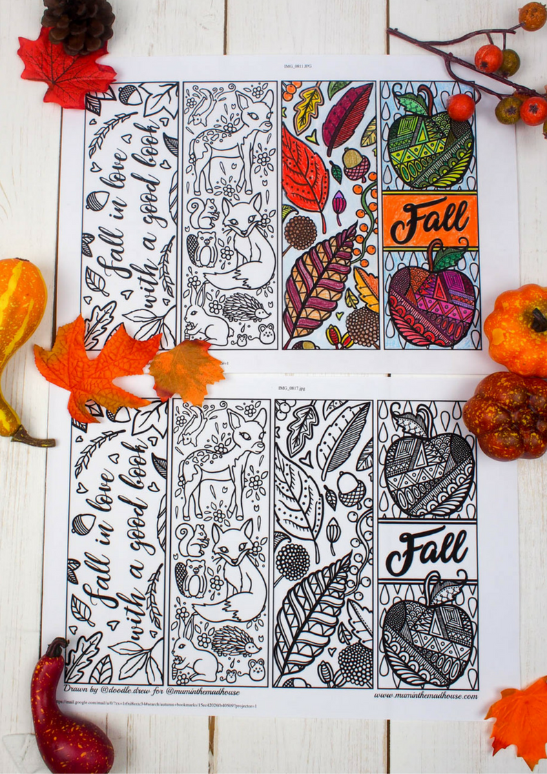 The darker nights are perfect for curling up with a good book and these free printable fall or autumn bookmarks to colour are just adorable.