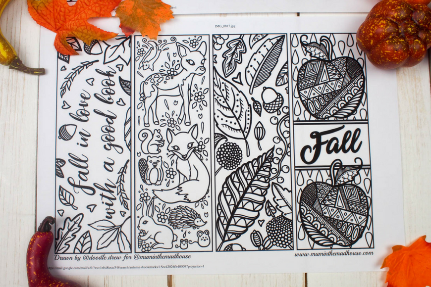 Free Printable Autumn Bookmarks to Colour Mum In The