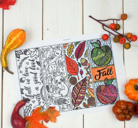 Free Printable Autumn Bookmarks to Colour square