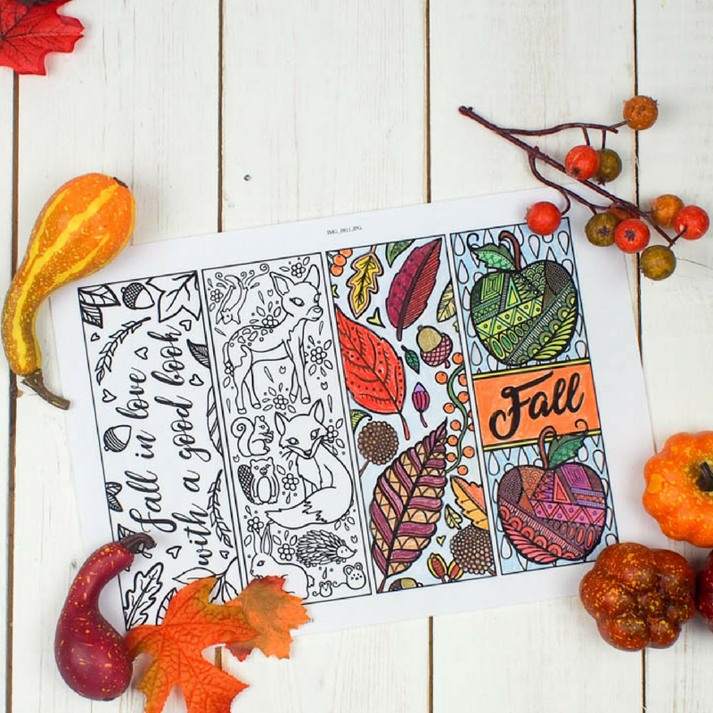 Free Printable Autumn Bookmarks to Colour - Mum In The Madhouse