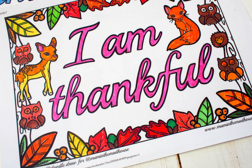 Beautiful I am thankful colouring sheet perfect for thanksgiving coloring or for anytime when you want to encourage gratitude