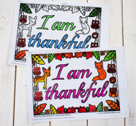 I am Thankful Colouring Sheets