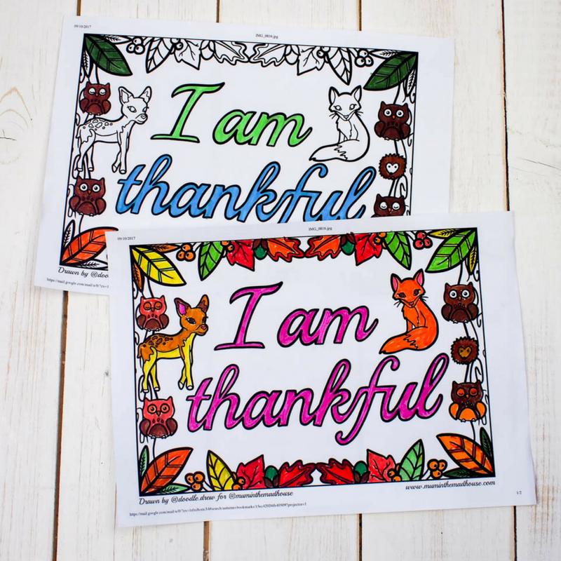 I am Thankful Colouring Sheets