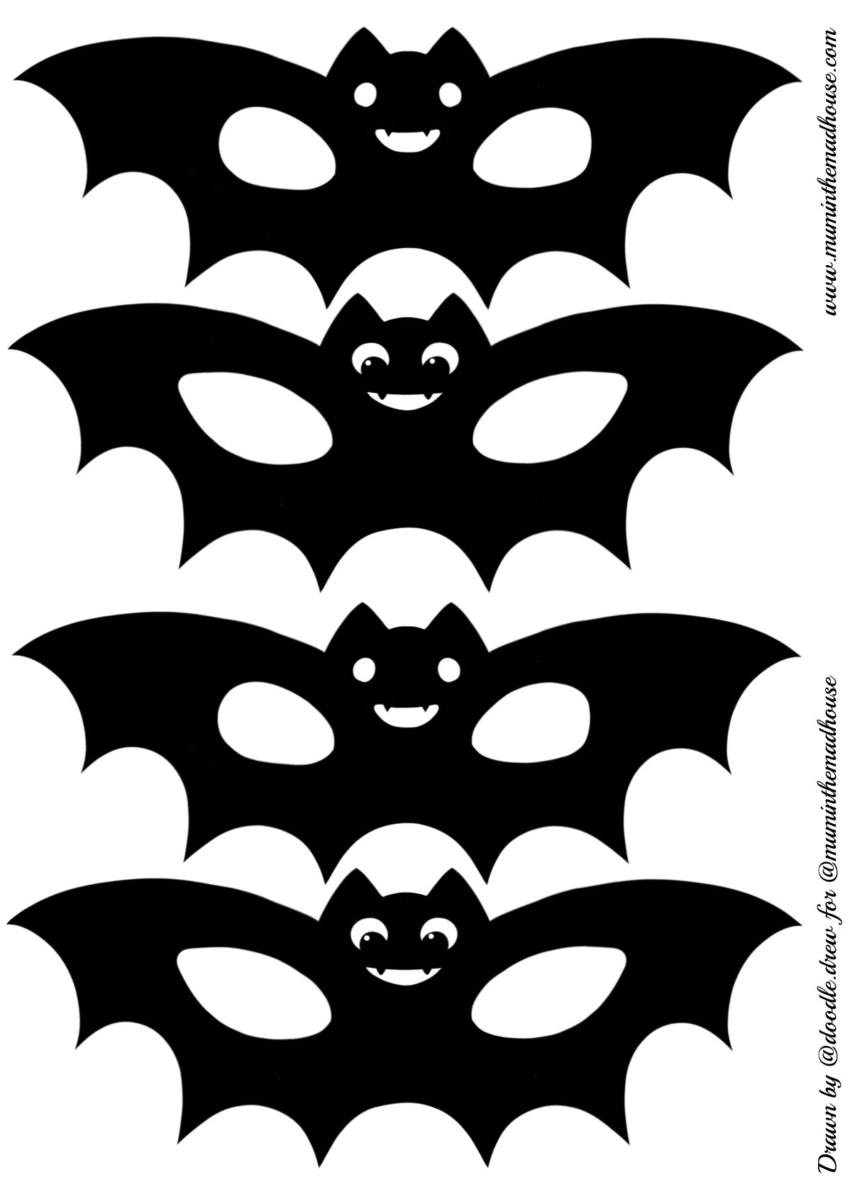 picture about Printable Bat identified as Fixed of 4 Printable Bat Masks - Mum Within just The Madhouse