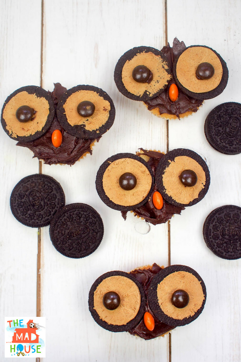 Peanut Butter flavour Oreo Owl Cupcakes Cooking with kids Mum In