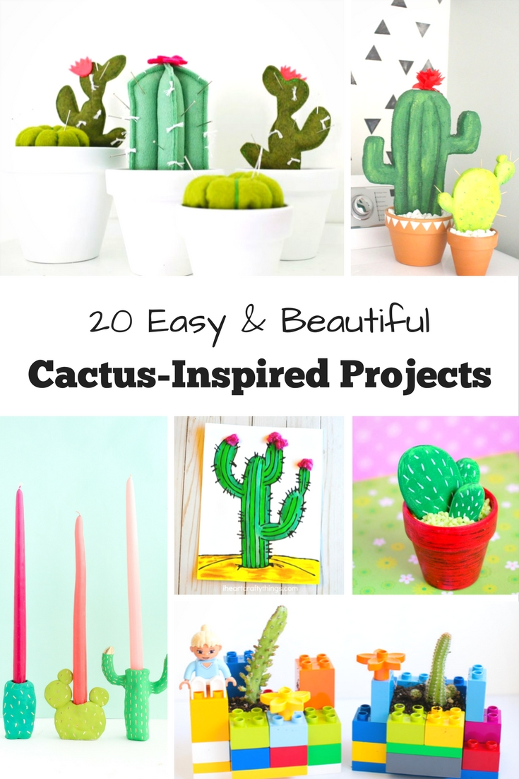 Follow the cactus trend by making your home and fashion accessories with these 20 Easy & Beautiful Cactus-Inspired Projects