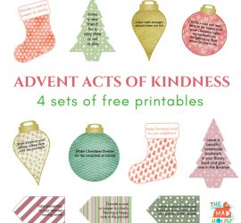 4 fabulous sets of Acts of Kindness Advent Calendar Printables. Random acts of kindness perfect to print and use for an advent calendar or kindness jar