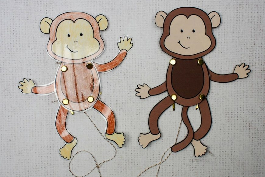 easy monkey paper puppet with templates mum in the madhouse. Black Bedroom Furniture Sets. Home Design Ideas