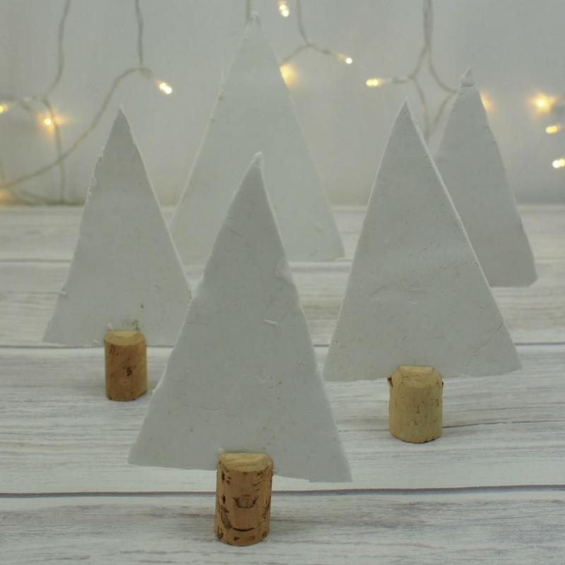DIY Festive Clay and Cork Trees