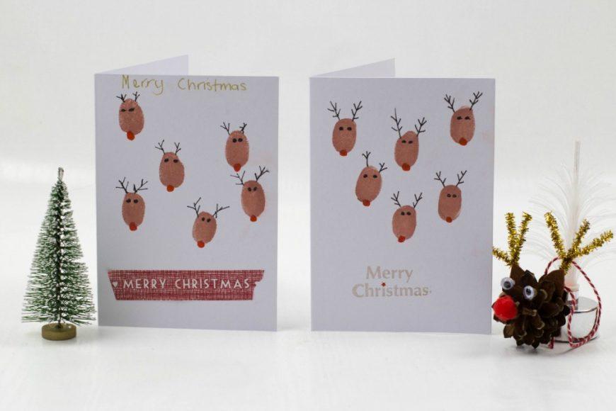 Fingerprint Christmas Cards - Reindeer fingerprint Christmas cards - a perfect Christmas craft for kids