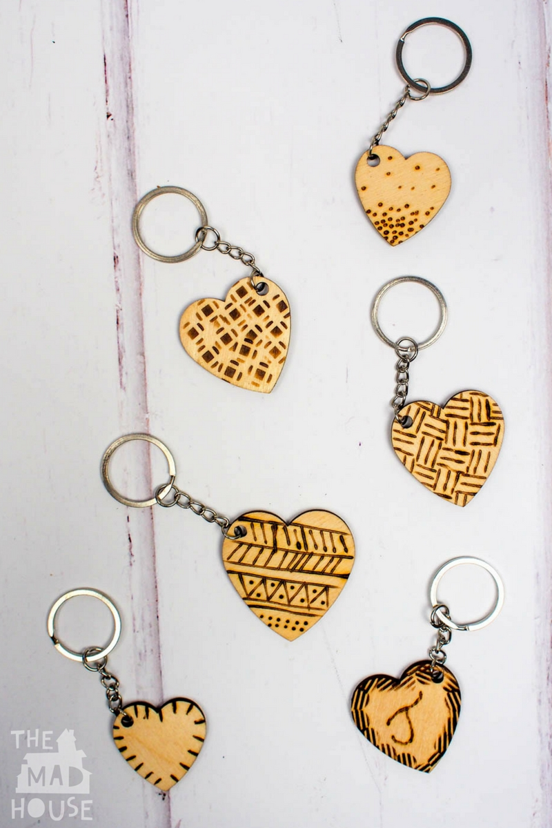These DIY Etched Wooden Heart Keyrings are so much fun to make for older kids and adults and they are perfect for valentines day.