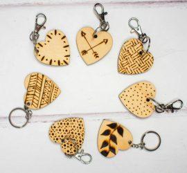 DIY Etched Wooden Heart Keyrings