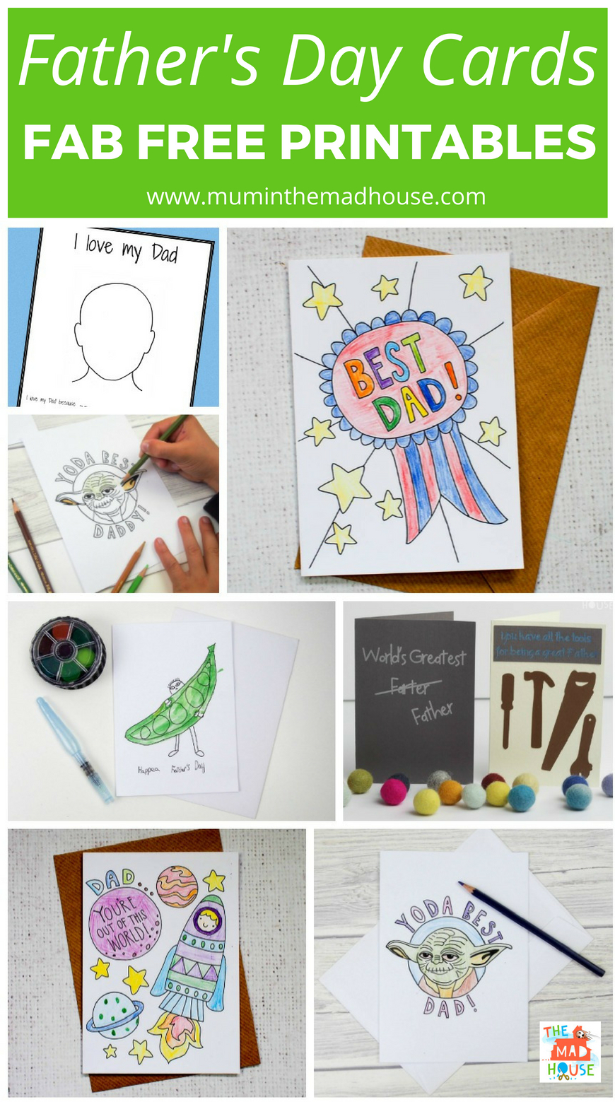 Download your fabulous free father's day card from a selection of amazing father's day printables. Make Dad's day with a homemade card.