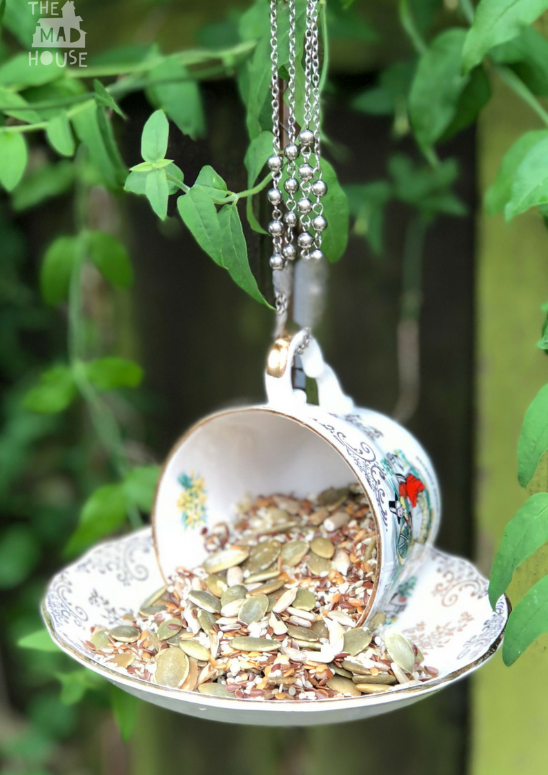 These DIY Teacup Bird Feeders are super cute and so easy to make. They are a brilliant way to use teacups and saucers that I keep collecting from charity shops. Nothing beats watching birds in your backyard and this hanging Teacup Bird Feeder DIY is super easy to make.