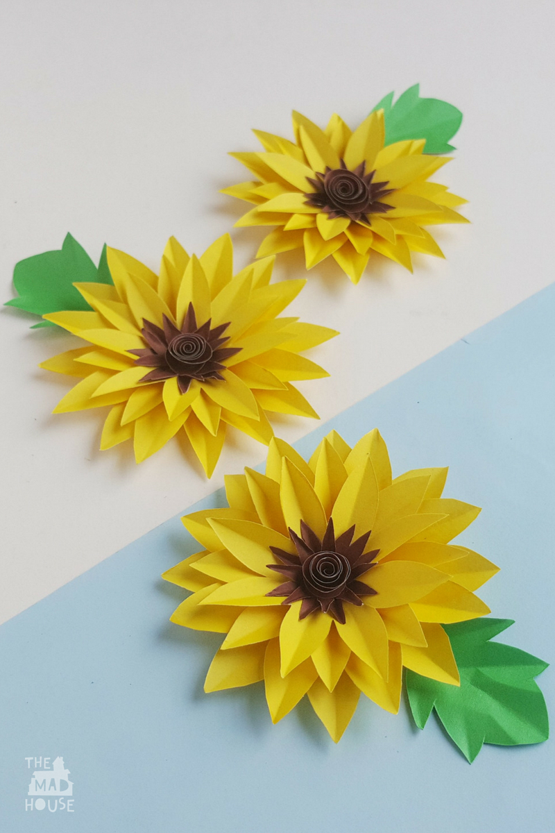 Paper Sunflower Craft Mum In The Madhouse