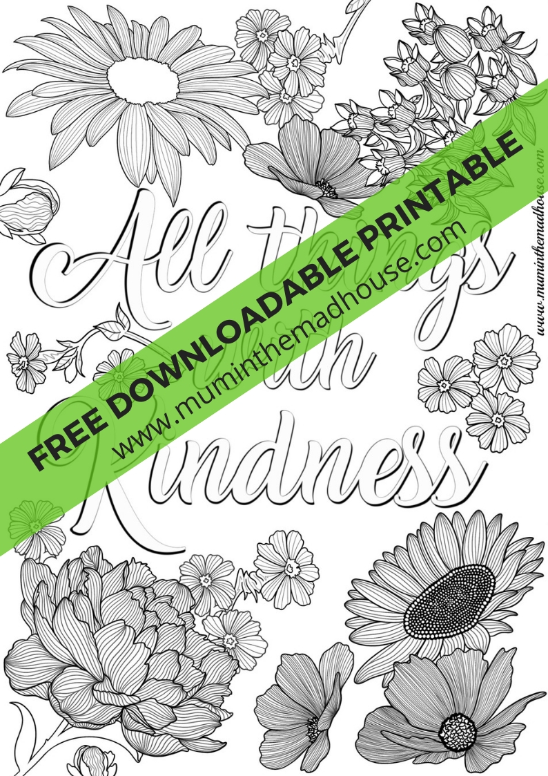 Free Printable All Things with Kindness Colouring Page - Mum In The ...