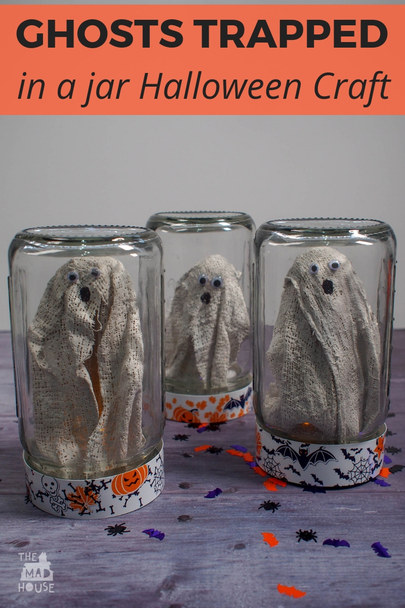 Try out our Ghosts in a Jar Halloween Craft and catcg some ghosts for your Halloween decoration.Ghosts can go through walls, but these jars are magical and keep them captured and out of mischief!