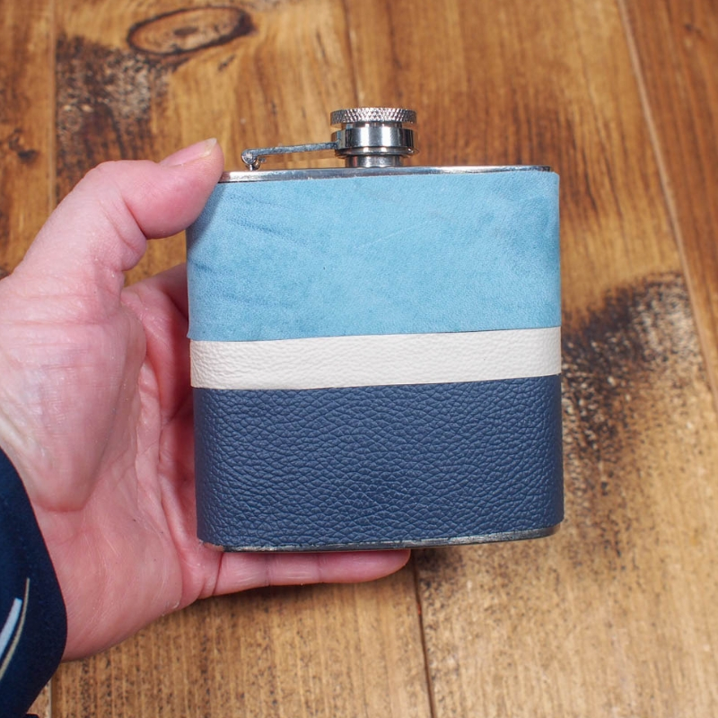 DIY Leather Wrapped Hip Flask - A fabulous homemade customised gift
