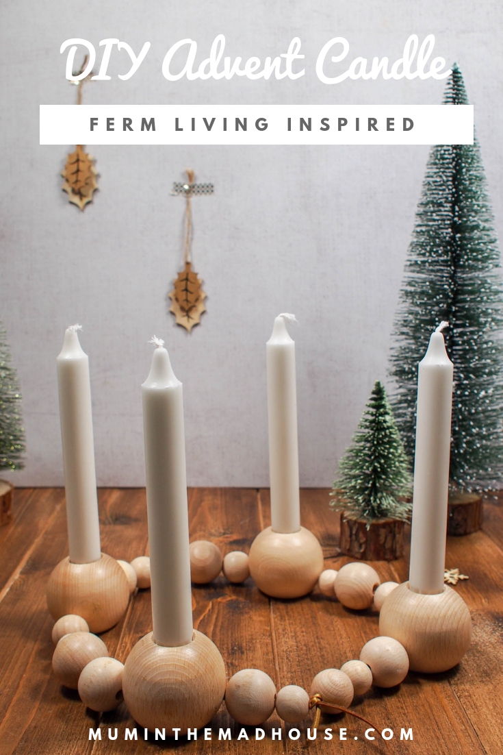Ferm Living DIY Wooden Bead Advent Candle - This beautiful DIY Advent Candle is Inspired by the Ferm Living Wooden Bead one. Find out how simple it is to make your own wooden bead advent candle.