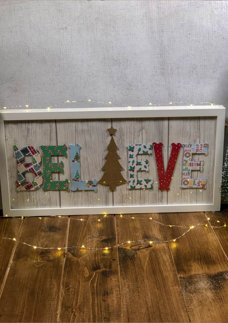 Believe Christmas Wall Decor. Make a beautiful festive wall plaque with our step by step DIy craft tutorial.