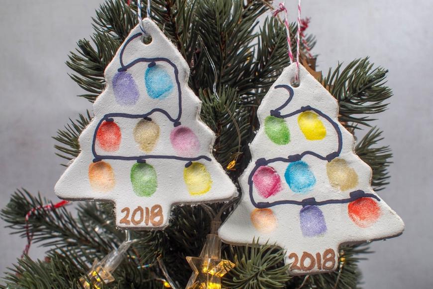 Fingerprint Christmas Tree Ornament - Air Drying Clay - Mum