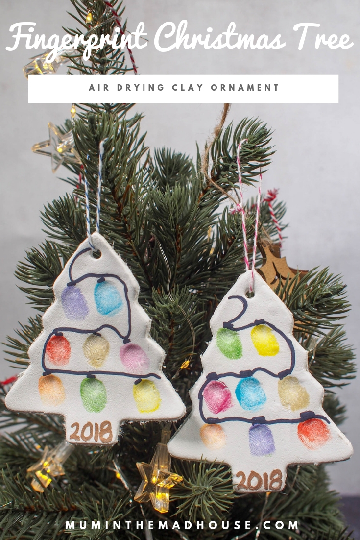 Fingerprint Christmas Tree Ornament Air Drying Clay Mum In The Madhouse