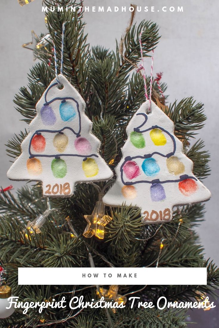 Make fingerprint christmas trees using our air dry clay as an alternative to Salt dough! This kids christmas craft is so fun and easy to make and the Christmas ornaments look fantastic hanging on the tree.
