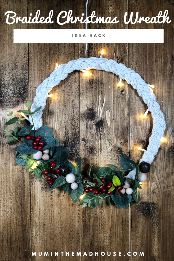 How to make a Scandinavian Inspired Braided Christmas Wreath. How to transform an Ikea STRÅLA LED pendant lamp in to a fabulous festive wreath