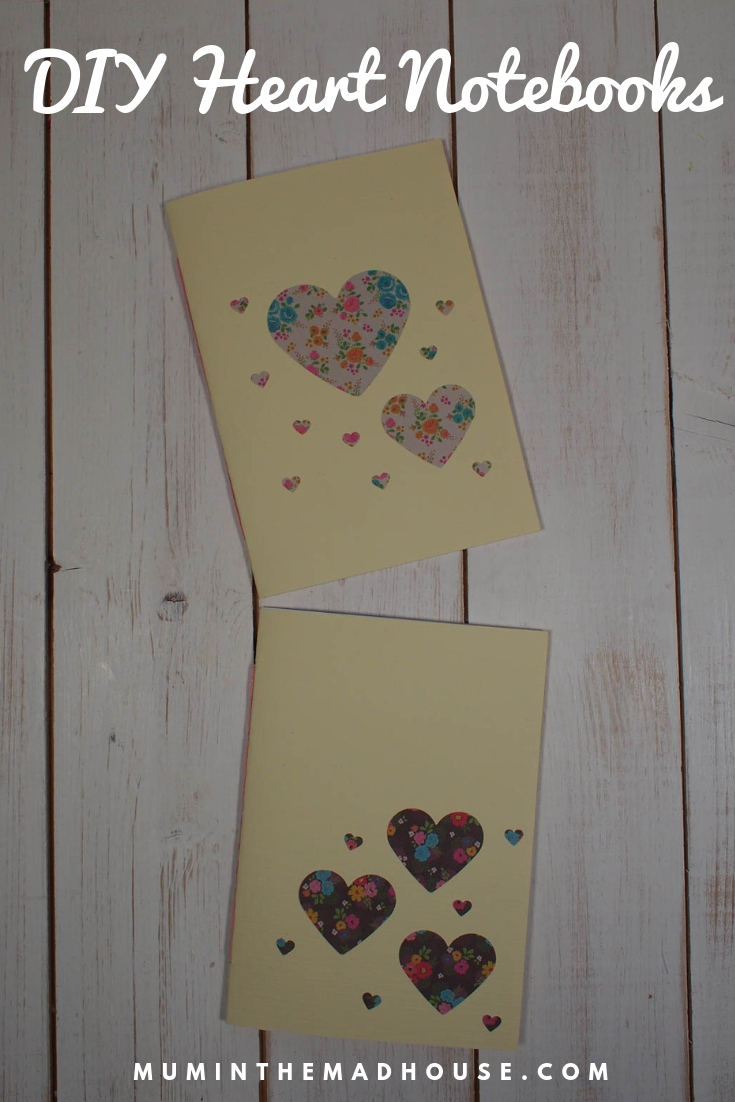 Learn how to make fabulous DIY Heart Notebooks using simple japensese book binding.  These Heart notebooks are perfect homemade gifts.