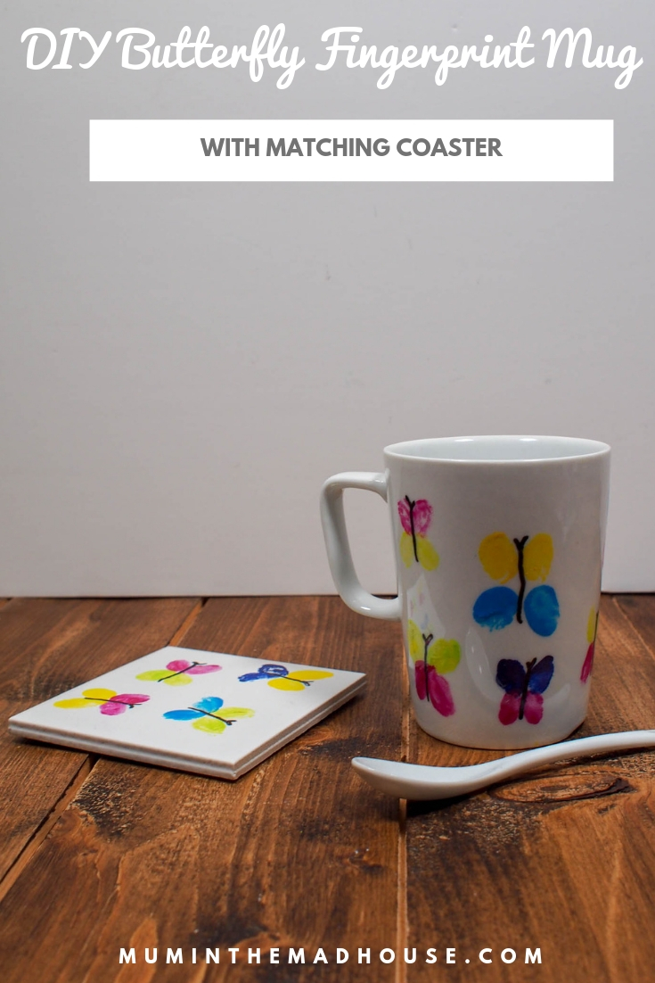 Make these cute DIY Butterfly Fingerprint Mugs with matching coasters for a birthday, Mother's Day or DIY gift. These fingerprint mugs are a great keepsake craft and make a fab DIY gift.
