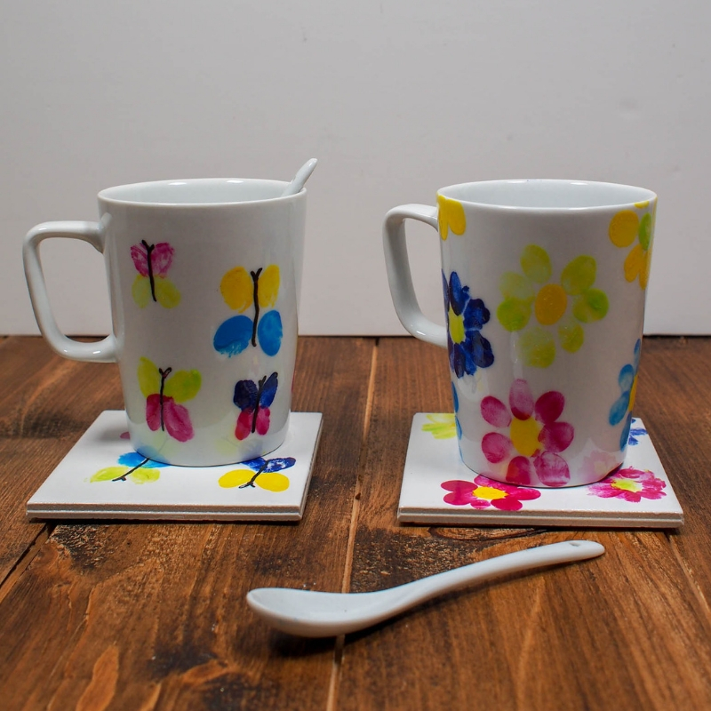 DIY Butterfly and Flower Fingerprint Mugs