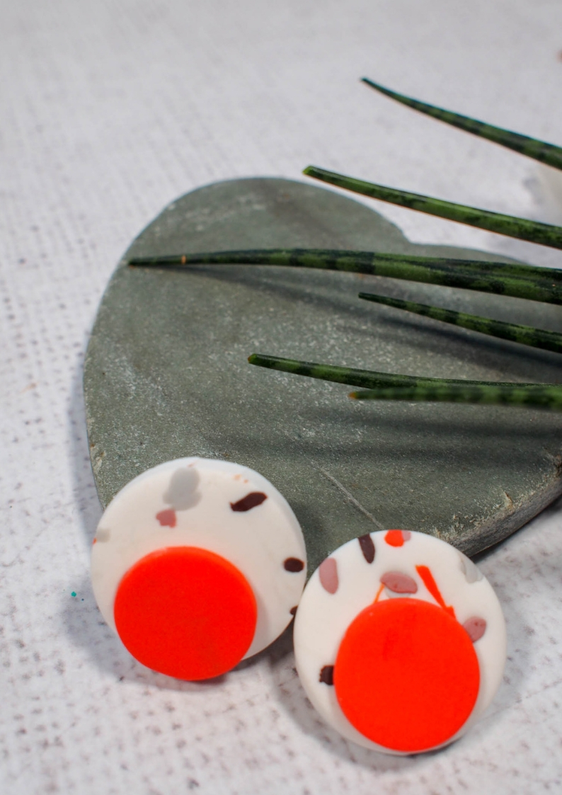 These DIY Terrazzo Earrings are a great way to use scraps of leftover polymer clay and are simple and inexpensive to make.