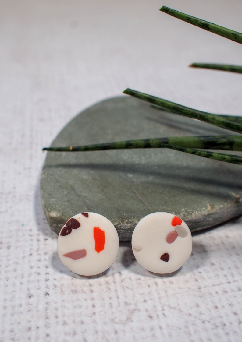 Make your own Faux terrazzo polymer clay earrings