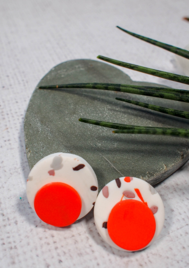 DIY Terrazzo Polymer Clay Earrings. A fabulous inexpensive craft for using up leftover polymer clay.